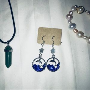 NWT Dolphin with Sea Shell Stars Earrings